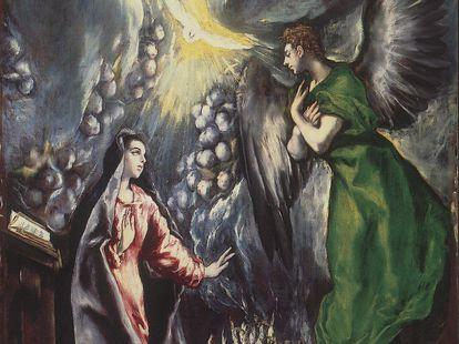 Fragmento de 'La Anunciación', de El Greco (1600), que se puede ver en el Prado de Madrid y que hasta 1981 estuvo en Vilanova i la Geltrú.