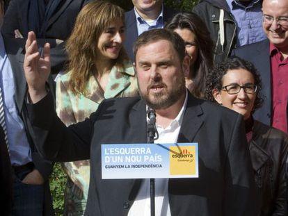 El líder de ERC, Oriol Junqueras, en un acto de campaña.