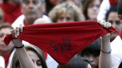 Protesta contra las agresiones sexuales en Pamplona, el pasado lunes.