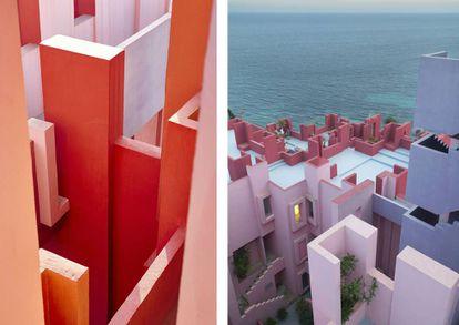 La Muralla roja de Ricardo Bofill (1972) es un complejo de residencias turísticas en Calpe (Alicante), que dialoga con cierta ironía con la arquitectura vernácula y crea un atractivo juego visual y cromático.