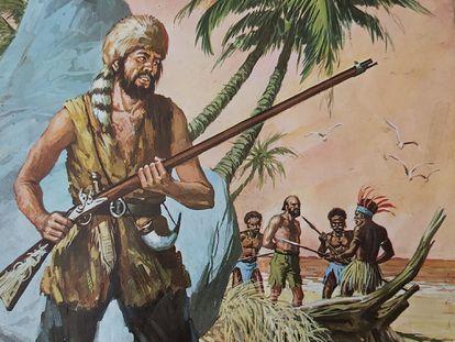 Antigua ilustración de Bruguera de Robinson Crusoe.