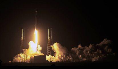 Instante del lanzamiento de Beresheet, en l 21 de febrero, a bordo de un cohete de SpaceX