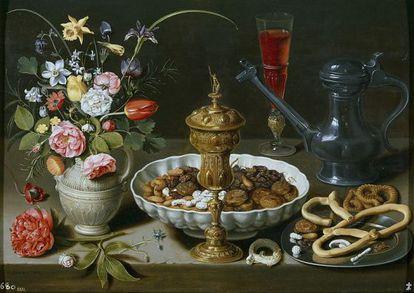 'Mesa', 1611, de la pintora flamenca Clara Peeters. El Museo del Prado posee cuatro de sus bodegones.