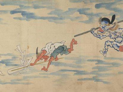 Detalle del rollo ilustrado del 'Desfile nocturno de los cien demonios'.