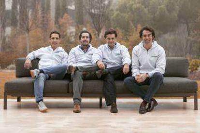 El equipo fundador de ThePowerMBA. De izquierda a derecha: Kike Corral, Hugo Arévalo, Rafael Gonzalo y Borja Adanero.