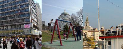 De izquierda a derecha, la plaza de la República de Belgrado, la iglesia de Santo Sava y una barcaza en las aguas del río Sava.