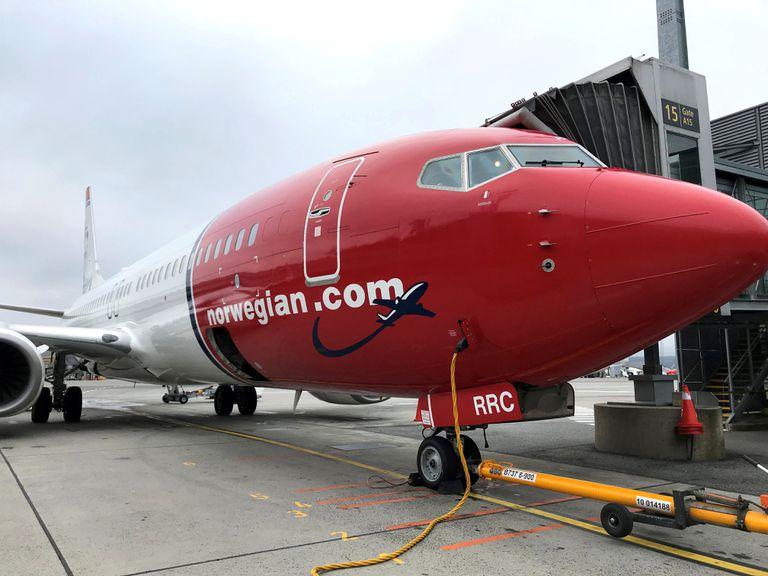 Un avión de Norwegian en el aeropuerto de Oslo.