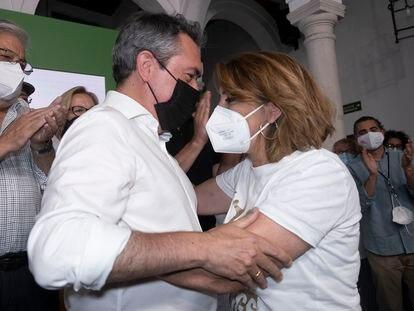 Juan Espadas y Susana Díaz en la sede del PSOE-A, tras la noche de primarias del 13 de junio.