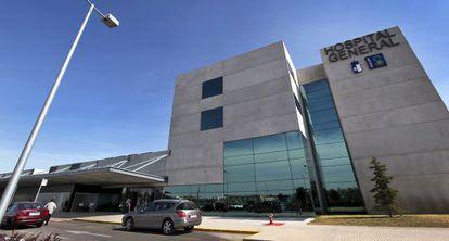 Fachada principal del hospital de Almansa (Albacete).