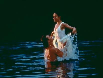 Los actores estadounidenses Patrick Swayze y Jennifer Gray, protagonistas de la película Dirty Dancing, 1987.