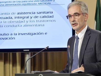 El consejero de Salud, Aquilino Alonso, este martes tras el Consejo de Gobierno.