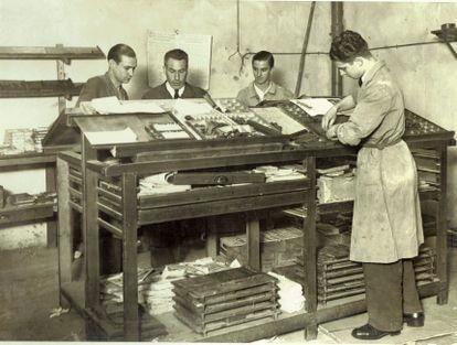 Talleres de Gráfica Minerva, fundada en 1921 en Molins de Rei (Barcelona).