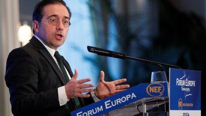 El ministro de Exteriores,  José Manuel Albares, en el acto celebrado este lunes en un hotel de Madrid.