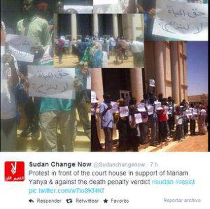 Cuenta de Twitter de la organización Sudan Change Now que sigue las protestas tras conocerse el veredicto.