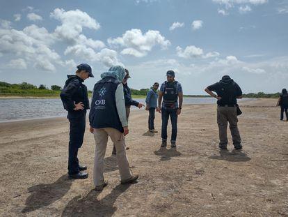 Elementos de la Fiscalía realizan acciones de búsqueda en La Bartolina, Tamaulipas, este mes de agosto.