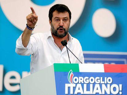 Matteo Salvini durante uno de los mítines que ha realizado en Umbria.