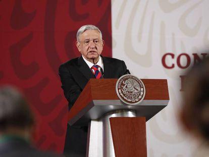 El presidente de México, Andrés Manuel López Obrador, ofrece una rueda de prensa este miércoles, en el Palacio Nacional de Ciudad de México (México).