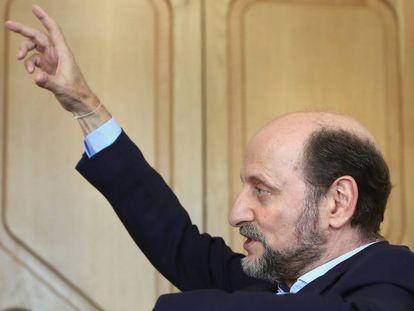 José Miguel Fernández Sastrón, presidente de la SGAE, en su despacho de Madrid, en julio.