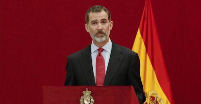 El Rey Felipe VI durante un actor institucional en Madrid.