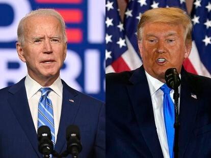 Joe Biden y Donald Trump comparecen en Delaware y Washington, respectivamente, tras las elecciones. / JIM WATSON (AFP) / CARLOS BARRIA (REUTERS)
