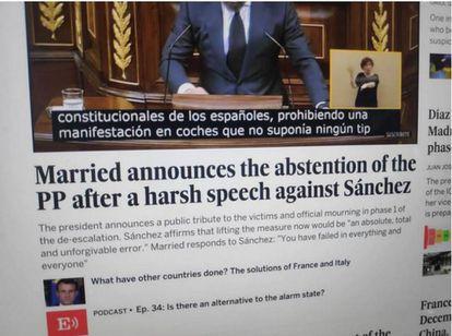 La imagen manipulada de la versión en inglés de EL PAÍS que circuló por redes sociales.