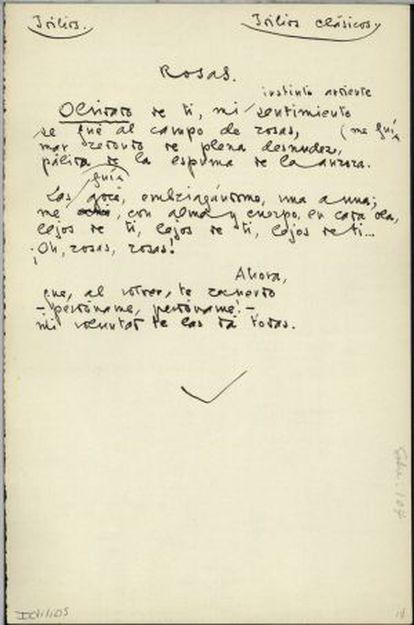 Manuscrito de uno de los poemas de Juan Ramón Jiménez contenidos en 'Idilios'.