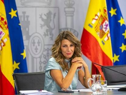 La ministra de Trabajo y Economía Social, Yolanda Díaz, este martes, tras el Consejo de Ministros.