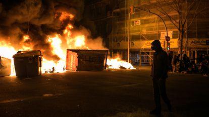 Protestas y altercados en el centro de Barcelona el pasado 18 de febrero por el encarcelamiento del rapero Pablo Hasél.
