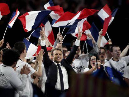 Emmanuel Macron, durante un mítin de campaña el pasado día 17 en París.
