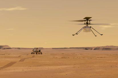 Ilustración del trabajo de 'Ingenuity' en Marte, con 'Perseverance' al fondo.
