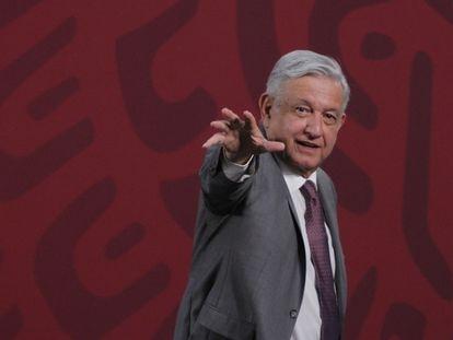 El presidente, López Obrador, durante su conferencia.