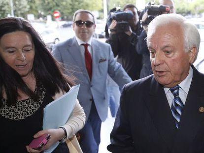 El expresidente de la Diputación de Ourense, esta mañana en el juzgado de Lugo donde declaró por la Pokémon.