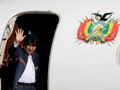 El presidente boliviano, Evo Morales, antes de viajar a La Haya.