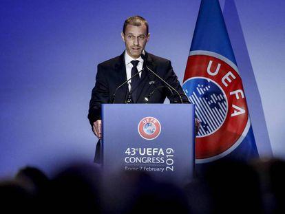 Alexander Ceferin, durante el congreso de la UEFA del pasado 7 de febrero en el que fue reelegido como presidente del fútbol europeo.
