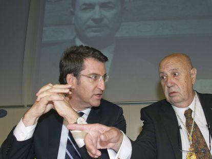 Feijóo y Ferrín, durante el acto central organizado por la Academia en Vigo para homenajear a Valentín Paz Andrade.