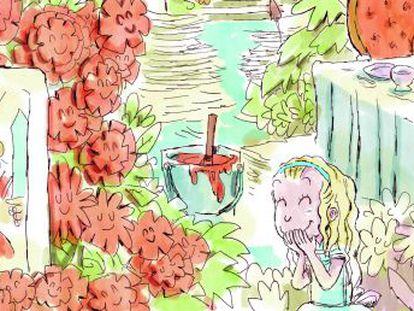 """Ilustración de Raúl Sagospe para el libro 'Prohibido leer a Lewis Carroll"""" de Diego Arboleda."""
