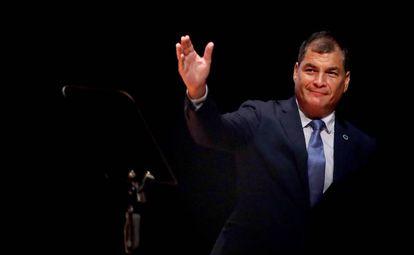 Rafael Correa en una conferencia en Colombia.