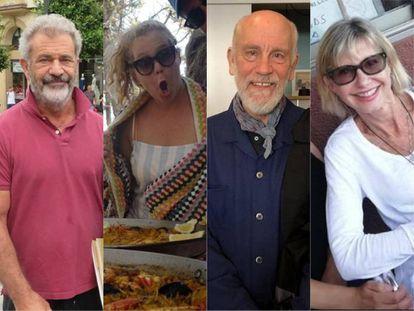 Mel Gibson, Amy Schumer, John Malkovich y Olivia Newton-John, algunas de las estrellas que visitaron pueblos de España y se fotografiaron con sus admiradores.