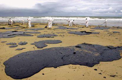 Limpieza de manchas de chapapote en Francia, en 2005