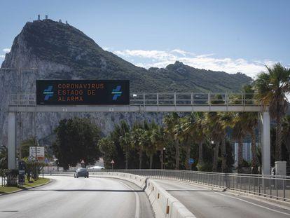 La frontera de Gibraltar con España, durante los primeros días del estado de alarma en España.