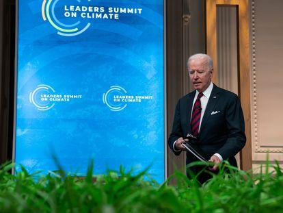 El presidente Joe Biden durante la inauguración de la cumbre virtual de líderes que ha convocado para el 22 y 23 de abril.