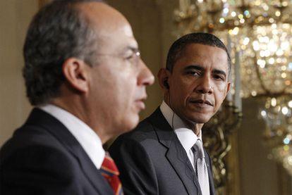 Felipe Calderón y Barack Obama comparecen ante la prensa tras concluir su reunión en la Casa Blanca.