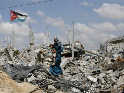 Una mujer palestina, en septiembre de 2014 en Gaza.