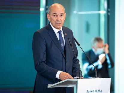 El primer ministro Janez Jansa, durante una rueda de prensa en Eslovenia este jueves.