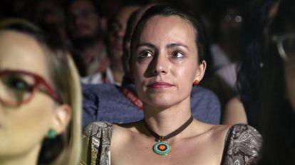 Tanja, miembro de las FARC, durante la proyección de 'El silencio de los fusiles', en la inauguración del Festival Internacional de Cine de Cartagena de Indias.