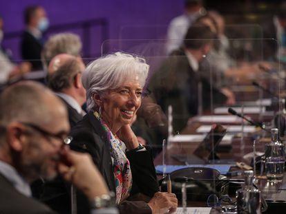 La presidenta del BCE, Christine Lagarde, durante el Eurogrupo informal de Lisboa de este viernes.