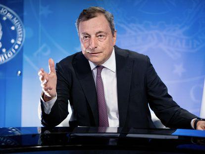El primer ministro de Italia, Mario Draghi, durante su participación en la reunión del G-7, el 24 de agosto.