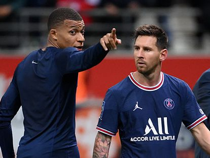 Mbappé y Messi, este domingo tras el Reims-PSG.