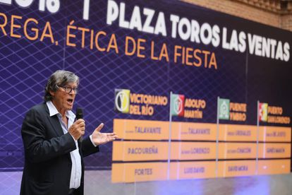 Simón Casas, durante el acto del sorteo de la Feria de Otoño de 2018.