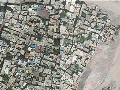 Imagen de la destrucción provocada en el distrito de Sur, la Ciudad Vieja de Diyarbakir. A la izquierda, antes de los bombarderos. A la derecha, después.